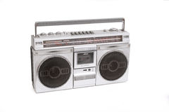 Boom box. Retro boom box radio on white stock images