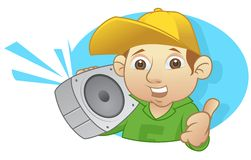 Boom box. Urban kid thumb up with boom box Stock Images