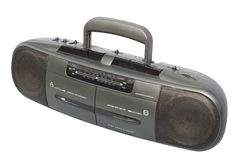 Boom Box, Black. Stereo Radio Dual Cassette Recorder; isolated, clipping path included Royalty Free Stock Photo
