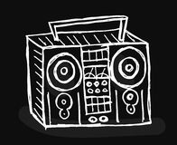 Boom box on black background. Stock Photo