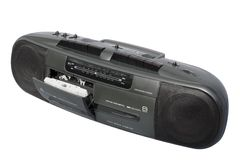 Boom Box Dual Deck Black. Stereo Radio Dual Cassette Recorder; isolated, clipping path included Stock Photo