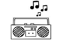 Boom box radio on Black & white Royalty Free Stock Photos