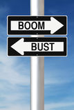 Boom or Bust. Modified one way signs indicating Boom and Bust Stock Images