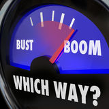 Boom or Bust Words Gauge Measure Success Failure Earnings Vs Los Royalty Free Stock Image