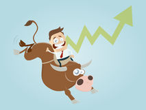 Boom cartoon with man and bull Stock Photography
