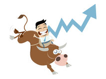 Boom cartoon with man and bull. Funny boom cartoon with man and bull Royalty Free Stock Photo