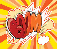 Boom! Comic Book Explosion. Boom icon over yellow background Stock Images