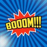 Boom!!! Comic style phrase on sunburst background. Design element for flyer, poster. Vector illustration Stock Images
