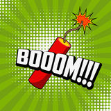 Boom!!! Comic style phrase on sunburst background with dynamite. Stick. Design element for flyer, poster. Vector illustration Royalty Free Stock Photos