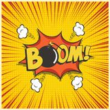 Boom comic text speech bubble with bomb. Vector isolated sound effect puff cloud iconon yellow background. Stock Image