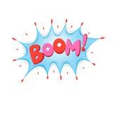Boom de lettrage, bombe illustration stock