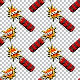 Boom with dynamite pattern. Comic book explosion. Stock Images