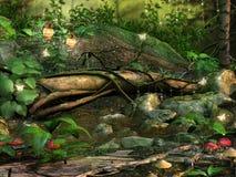 Boom in een magisch bos stock illustratie