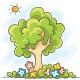 Boom en bloemen vector illustratie