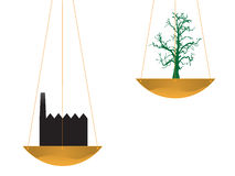 Boom en fabriek in evenwicht royalty-vrije illustratie