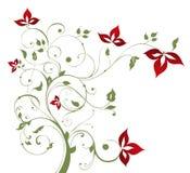 Boom en rode bloem royalty-vrije illustratie