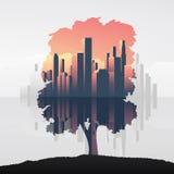 Boom en stedelijke vector de illustratieachtergrond van de bedrijfshorizon dubbele blootstelling Symbool van milieu, aard, ecolog vector illustratie