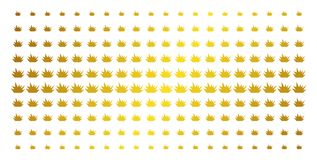 Boom Explosion Gold Halftone Array. Boom explosion icon gold halftone pattern. Vector boom explosion pictograms are organized into halftone array with inclined Royalty Free Stock Images