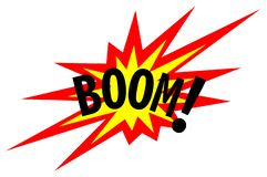 Boom! Explosion Sign. Illustration of burst, detonation sound effect stock illustration