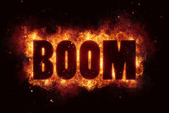 Boom explosion text fire flames hot. Energy Royalty Free Stock Images
