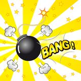 Boom explosion. Vector illustration of a cartoon explosion with a bomb Stock Images