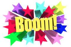 Boom. Golden word among bright multi colored stars Stock Images
