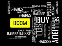 BOOM - image with words associated with the topic STOCK EXCHANGE, word cloud, cube, letter, image, illustration Stock Photos