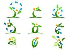 Boom, installatie, mensen, natuurlijk water, embleem, gezondheid, zon, blad, ecologie, het ontwerp vectorreeks van het symboolpic Stock Fotografie