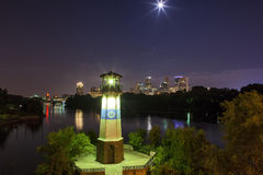 Boom Isand Night. Looking towards downtown Minneapolis from Boom Island Royalty Free Stock Images