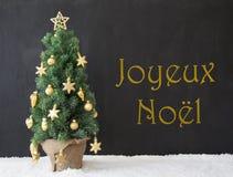 Boom, Joyeux Noel Means Merry Christmas, Zwart Beton Stock Fotografie