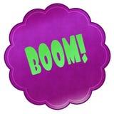 BOOM   on magenta sticker. Royalty Free Stock Image