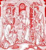 Boom Magi in rode Kerstmis stock illustratie