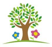 Boom met bloemen vector illustratie