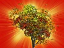 Boom met dalende bladeren, illustratie Stock Afbeeldingen