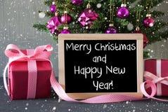 Boom met Giften, Sneeuwvlokken, Gelukkige Nieuwjaar van Tekst het Vrolijke Kerstmis Stock Afbeeldingen