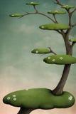 Boom met groene eilanden vector illustratie