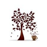 Boom met koffiebonen Royalty-vrije Stock Afbeeldingen