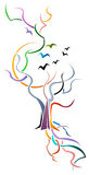 Boom met vogels vector illustratie