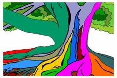 Boom multicolored op een witte achtergrond Royalty-vrije Stock Foto's