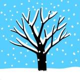 Boom onder de sneeuw Stock Foto