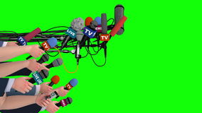 Boom pole microphones and hands with mics on green screen, side view, 3D