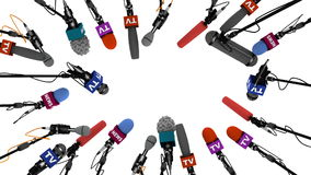 Boom pole microphones on white background with alpha channel, 3D animation
