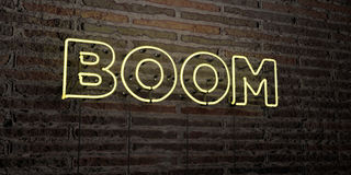 BOOM -Realistic Neon Sign on Brick Wall background - 3D rendered royalty free stock image Royalty Free Stock Photos