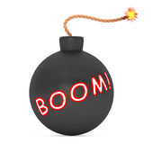 Boom Sign Black Bomb with Wick. 3d Rendering Royalty Free Stock Photography