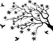 boom silhouet met vogel het vliegen Stock Afbeelding