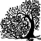 Boom in soagomawijnoogst met takken en bladeren in spiralen de boomstam stock illustratie