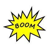 Boom, Spracheblase Fahne, Spracheblase, Plakat und Aufkleberkonzept, Memphis-geometrischer Stil mit Text Boom Mitteilungssprache  lizenzfreie abbildung