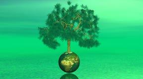 Boom ter wereld op groene achtergrond stock illustratie