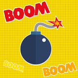 Boom text typography, fire ready to boom. Vector Royalty Free Stock Photo