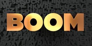 Boom - texte d'or sur le fond noir - photo courante gratuite de redevance rendue par 3D Image libre de droits